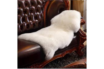 (White, 60 X 90 CM) - HEQUN Faux Fur Sheepskin Style Rug Faux Fleece Chair Cover Seat Pad Soft Fluffy Shaggy Area Rugs For Bedroom Sofa Floor (White, 60 X 90 CM)