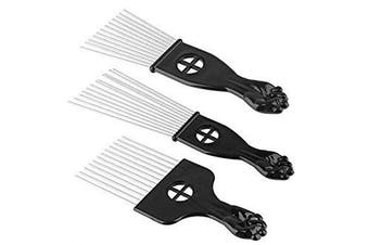 3Pc Metal Hair Styling Pik Afro Pick Comb For Volume & Tangles Black Fan Fist Hand Model