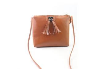 (Brown) - Women Fashion Tassel Handbag Shoulder Bag Small Tote Ladies Purse, LLguz Elegant Girl Handbag Crossbody Bag