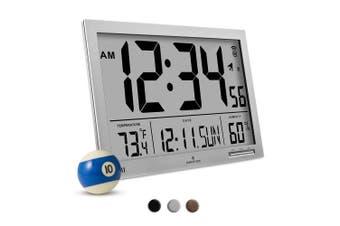 (Gray) - MARATHON CL030062GG Slim-Jumbo Atomic Digital Wall Clock with Temperature, Date and Humidity (Grey)