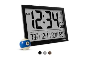 (Black) - MARATHON CL030062BK Slim-Jumbo Atomic Digital Wall Clock with Temperature, Date and Humidity (Black)