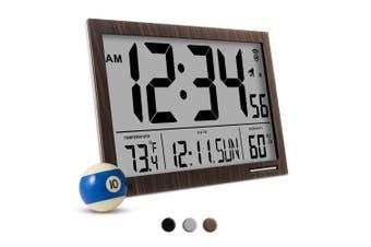 (Wood Tone / Brown) - MARATHON CL030062WD Slim-Jumbo Atomic Digital Wall Clock with Temperature, Date and Humidity