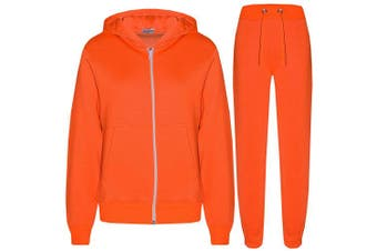 (Neon Orange, 9 - 10 Years) - a2z4kids A2Z 4 Kids® Kids Girls Boys Plain Tracksuit Hooded Hoodie Bottom Jogging Suit Joggers New Age 2 3 4 5 6 7 8 9 10 11 12 13 Years