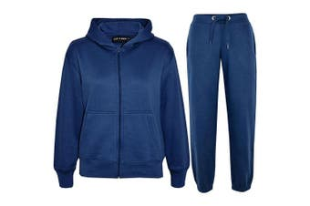 (Navy, 3 - 4 Years) - a2z4kids A2Z 4 Kids® Kids Girls Boys Plain Tracksuit Hooded Hoodie Bottom Jogging Suit Joggers New Age 2 3 4 5 6 7 8 9 10 11 12 13 Years
