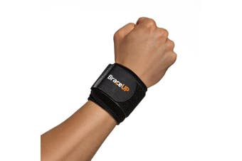 (Black) - BraceUP® Wrist Compression Strap and Support, One Size Adjustable (Black)
