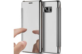 (Silver) - Galaxy Note 5 Case,Galaxy Note 5 Cover,ikasus Ultra-Slim Luxury Hybrid Shock-Absorption Clear View Flip Electroplate Plating Mirror Cover Flip Protective Case Cover for Galaxy Note 5,Silver