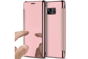 (Rose Gold) - Galaxy Note 5 Case,Galaxy Note 5 Cover,ikasus Ultra-Slim Luxury Hybrid Shock-Absorption Clear View Flip Electroplate Plating Mirror Cover Flip Protective Case Cover for Galaxy Note 5,Rose Gold