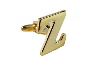 (z) - Single Gold Alphabet Initial Cufflink (Buy 2 To Make A Pair) SOLD INDIVIDUALLY To Make A Personal Pair PLEASE READ CAREFULLY Wedding Mix & Match Letter Cufflinks Gold Plated