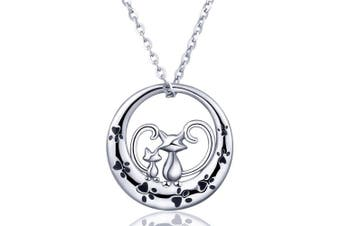 (D: Cats and Dog Paw) - AEONSLOVE Necklaces, S925 Sterling Silver Lovely Dog Cat Paw Pendant Necklace, 46cm Rolo Chain Jewellery Gift for Women Girls