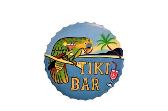 "New Vibrant 38cm x 39cm Handcarved & Painted Wood Round ""Tiki Bar"" Wall Decor Sign with Parrot!"