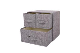 (Grey, 1 big + 2 small drawers) - YINGGG Fabric Drawer Storage Unit Tower Organiser Storage Box for Clothes,Bras, Underwear, Socks, Neck Ties, Scarves (Grey, 1 big + 2 small drawers)