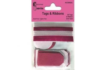 Craftime AC0082C Colour Connexion Tags and Ribbons, Pink