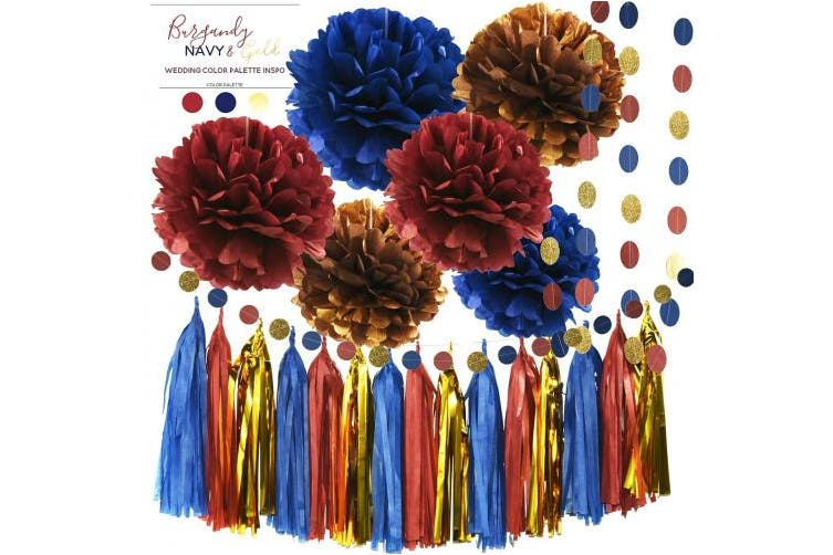 Bridal Shower Decorations Navy Burgundy Gold Tissue Pom Pom Tassel Garland Cirle Garland Burgundy Wedding Favours Burgundy Navy Wedding Birthday Party