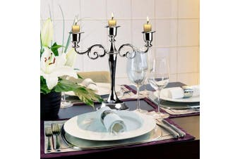 (Silver) - Delaman® Candle Holder 3 Arms Metal European Style Candelabra Stand for Wedding Candlestick Home Decor ( Colour : Silver )