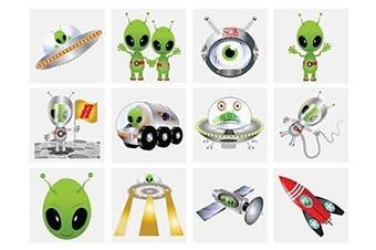 24 x Alien Temporary Tattoos Children's Birthday Loot Party Bag Filler