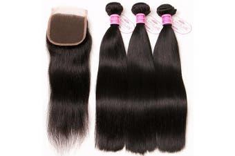 (8 10 12 +20cm ) - ClAROLAIR Brazilian Hair Bundles with Closure Straight Free Part Unprocessed Brazilian Straight Hair Bundles 8A Straight Human Hair Bundles Natual Black Colour 100g/pc 8 10 12 +20cm