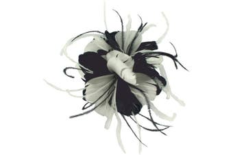 (Navy & White) - Failsworth Millinery Feather Fascinator