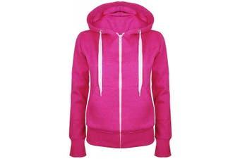 (Small (UK 8), Cerise) - Be Jealous Womens Plain Hooded Sweatshirts Girls Zip Top Ladies Hoodies Coat Jacket Hoody Plus Size 6-24