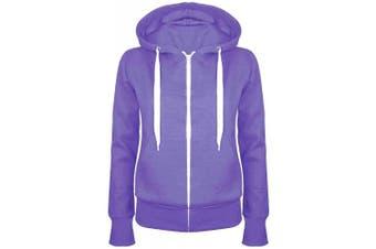 (Small (UK 8), Purple) - Be Jealous Womens Plain Hooded Sweatshirts Girls Zip Top Ladies Hoodies Coat Jacket Hoody Plus Size 6-24