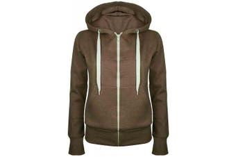 (Plus Size 5XL (UK 22/24), Brown) - Be Jealous Womens Plain Hooded Sweatshirts Girls Zip Top Ladies Hoodies Coat Jacket Hoody Plus Size 6-24