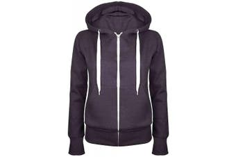 (Small (UK 8), Charcoal) - Be Jealous Womens Plain Hooded Sweatshirts Girls Zip Top Ladies Hoodies Coat Jacket Hoody Plus Size 6-24