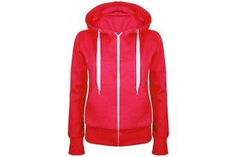 (Small (UK 8), Red) - Be Jealous Womens Plain Hooded Sweatshirts Girls Zip Top Ladies Hoodies Coat Jacket Hoody Plus Size 6-24
