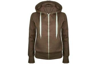 (Small (UK 8), Brown) - Be Jealous Womens Plain Hooded Sweatshirts Girls Zip Top Ladies Hoodies Coat Jacket Hoody Plus Size 6-24