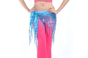 (Lake Blue) - BellyLady Belly Dance Hip Scarf Shawl With Fringe Tribal Triangle Tassles Wrap