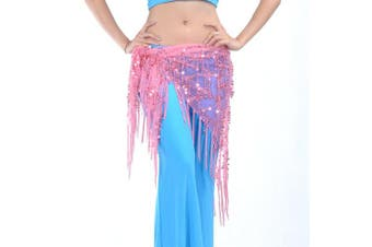 (Pink) - BellyLady Belly Dance Hip Scarf Shawl With Fringe Tribal Triangle Tassles Wrap
