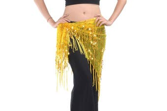 (Yellow) - BellyLady Belly Dance Hip Scarf Shawl With Fringe Tribal Triangle Tassles Wrap