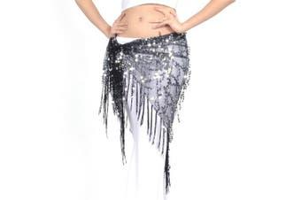 (Black) - BellyLady Belly Dance Hip Scarf Shawl With Fringe Tribal Triangle Tassles Wrap