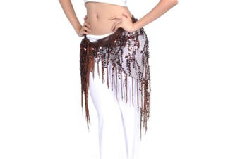 (Coffee) - BellyLady Belly Dance Hip Scarf Shawl With Fringe Tribal Triangle Tassles Wrap