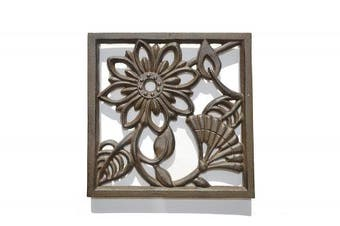 Gasare, Cast Iron Trivet, Decorative Square Design, For Hot Dishes, Teapot or Decoration, Made of Cast Iron with Rubber Caps, Antique Rust Brown Colour, Size Around 20cm x 20cm