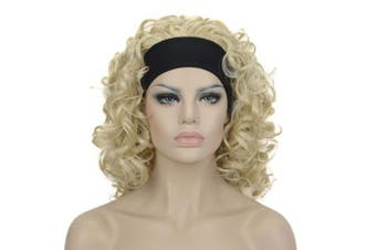 (#613) - Lydell 30cm Medium Super Curly Wigs Pale Blonde Synthetic Headband Wigs (613 Pale Blonde)