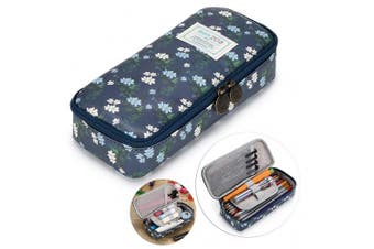 (Dark Blue) - BTSKY Cute Pencil Case -- High Capacity Floral Pencil Pouch Stationery Organiser Multifunction Cosmetic Makeup Bag, Perfect Holder for Pencils and Pens (Dark Blue)