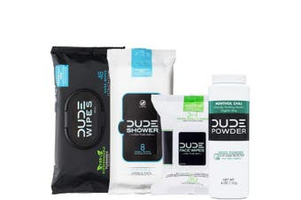 DUDE Wipes Flushable (48ct), DUDE Shower Body Wipes (8ct), DUDE Face Wipes (30ct) & DUDE Body Powder Menthol Chill (1 Bottle) - Head to Toe Ultimate DUDE Combo
