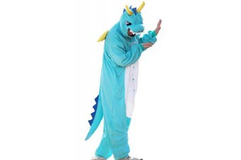 (Small, Blue) - wotogold Animal Black Dragon Pyjamas Unisex Adult Cosplay Costumes