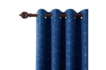 "(2x W46""x L72"", Blue) - Deconovo Foil Diamond Printed Curtains Ring Top Thermal Insulated Eyelet Curtains Blackout Curtains for Living Room with Two Matching Tie Backs W46 x L72 Inch Blue One Pair"