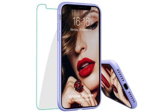 (Light Purple) - JASBON iPhone X/XS Case, Liquide Silicone Phone Case with Free Tempered Screen Gel Rubber Soft Touch Cover Full Protective Case for iPhone X/XS-Light Purple