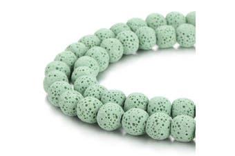 (6mm, Light Green) - BORUO Natural 6mm Light Green Colour Lava Rock Stone Semi Precious Gemstone Round Loose Beads Energy Stone Healing Power for Jewellery Making (Approxi 63pcs per strand)