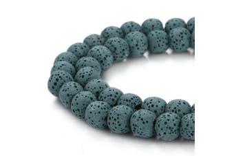 (12mm, Emerald) - BORUO Natural 12mm Emerald Colour Lava Rock Stone Semi Precious Gemstone Round Loose Beads Energy Stone Healing Power for Jewellery Making (Approxi 32pcs per strand)