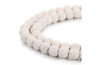 (6mm, White) - BORUO Natural 6mm White Colour Lava Rock Stone Semi Precious Gemstone Round Loose Beads Energy Stone Healing Power for Jewellery Making (Approxi 63pcs per strand)