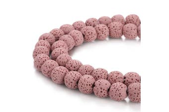 (12mm, Pink) - BORUO Natural 12mm Pink Colour Lava Rock Stone Semi Precious Gemstone Round Loose Beads Energy Stone Healing Power for Jewellery Making (Approxi 32pcs per strand)