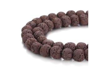 (6mm, Brown) - BORUO Natural 6mm Brown Colour Lava Rock Stone Semi Precious Gemstone Round Loose Beads Energy Stone Healing Power for Jewellery Making (Approxi 63pcs per strand)
