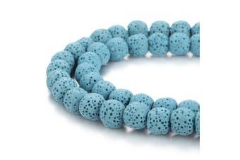 (6mm, Light Blue) - BORUO Natural 6mm Light Blue Colour Lava Rock Stone Semi Precious Gemstone Round Loose Beads Energy Stone Healing Power for Jewellery Making (Approxi 63pcs per strand)