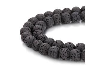 (10mm, Black) - BORUO Natural 10mm Black Colour Lava Rock Stone Semi Precious Gemstone Round Loose Beads Energy Stone Healing Power for Jewellery Making (Approxi 38pcs per strand)