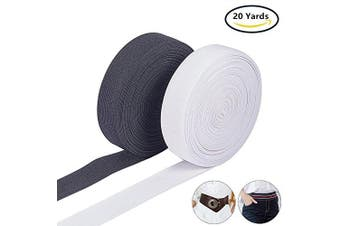 (2.5cm , White & Black (1-inch)) - BENECREAT 20 Yards 2.5cm Wide White & Black Heavy Stretch High Elasticity Knit Elastic Band (10 Yards/Colour)