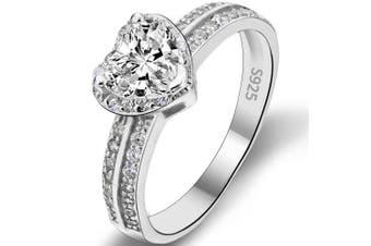 (O) - TENYE Women's 925 Sterling Silver Love Heart Cut Zirconia Wedding Engagement Ring