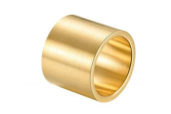 (stainless-steel-and-gold, W 1/2) - ALEXTINA Men's 19MM Wide Stainless Steel Rings Wrap Plain Band Flat Pipe Cut