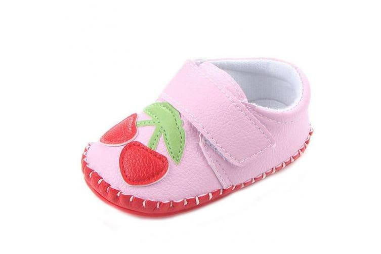 (6-12 Months, Pink Cherry) - Lidiano Baby Non Slip Rubber Sole Cartoon Walking Slippers Crib Shoes Infant/Toddler (6-12 Months, Pink Cherry)